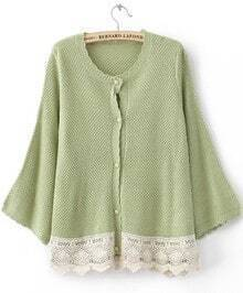 Light Green Puff Long Sleeve Lace Embellished Hem Cardigan Sweater