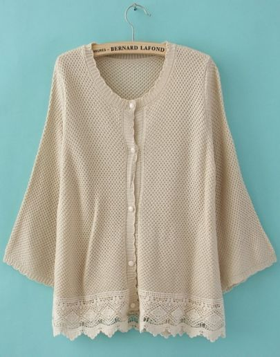 Beige Puff Long Sleeve Lace Embellished Hem Cardigan Sweater