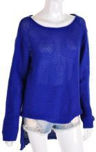Blue Vintage Round Neck Long Sleeve Wool Sweater