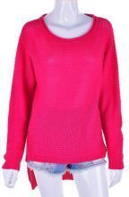 Rose Red Vintage Round Neck Long Sleeve Wool Sweater
