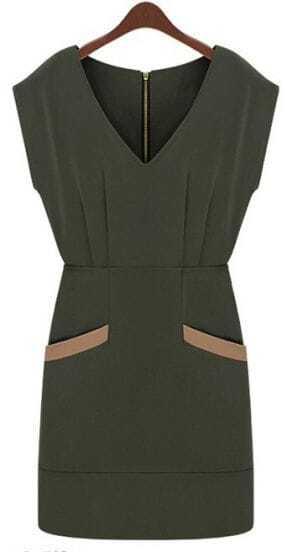 Army Green V Neck Sleeveless Zipper Pockets Dress