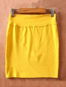 Light Yellow High Waist Bodycon Slim A Line Skirt