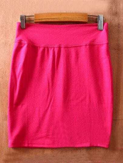 Rose Red High Waist Bodycon Slim A Line Skirt
