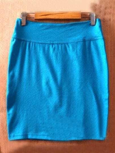 Light Blue High Waist Bodycon Slim A Line Skirt