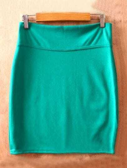 Green High Waist Bodycon Slim A Line Skirt