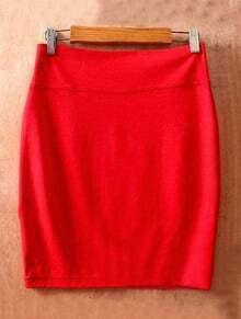 Red High Waist Bodycon Slim A Line Skirt