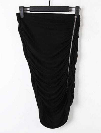 Black Elasic Waist Zipper Pleated Bodycon Skirt