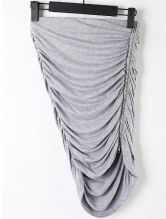 Grey Elasic Waist Zipper Pleated Bodycon Skirt