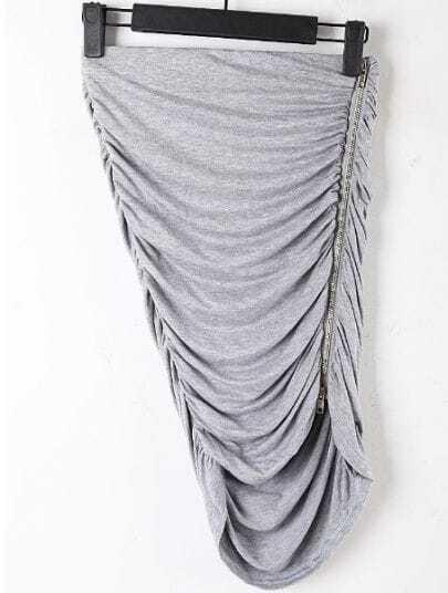 Grey Elasic Waist Zipper Pleated Bodycon Skirt