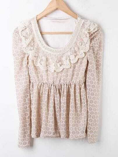 Khaki Ruffles Pearls Lace Embroidery Shirt