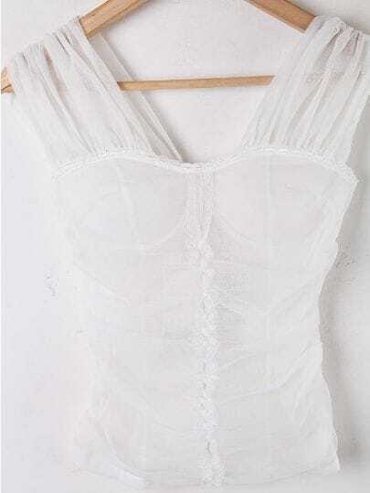 White Sleeveless Sheer Mesh Yoke Lace Chiffon Shirt