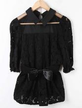 Black Lapel Half Sleeve Sheer Buttons Slim Chiffon Shirt
