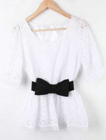 White Hollow Drawstring Waist Bow Lace Shirt