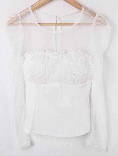 White Sheer Mesh Yoke Pearls Pleated Lace Shirt