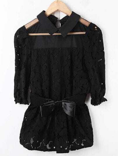 Black Lapel Half Sleeve Sheer Buttons Slim Chiffon Shirt