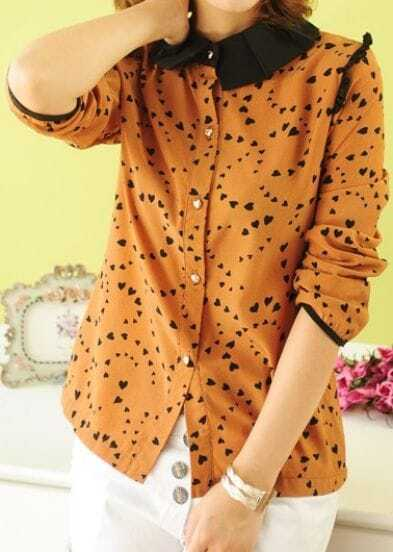 Orange Lapel Single Breasted Heart Print Chiffon Shirt