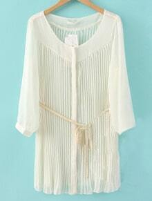Beige Pleated Drawstring Waist Loose Chiffon Shirt