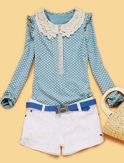 Green Polka Dot Ruffles Hollow Cotton Shirt