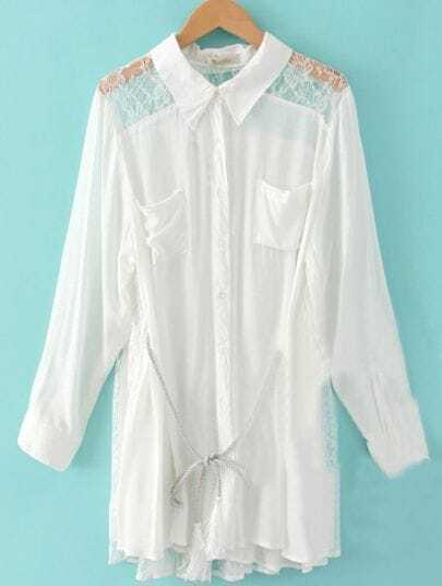 White Single Breasted Lace Loose Tassel Drawstring Waist Shirt