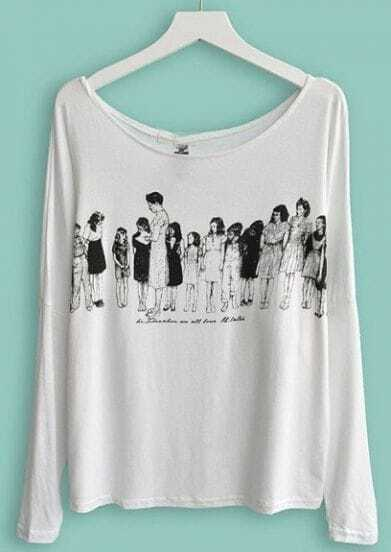 White Vintage People Print Batwing Long Sleeve T-Shirt