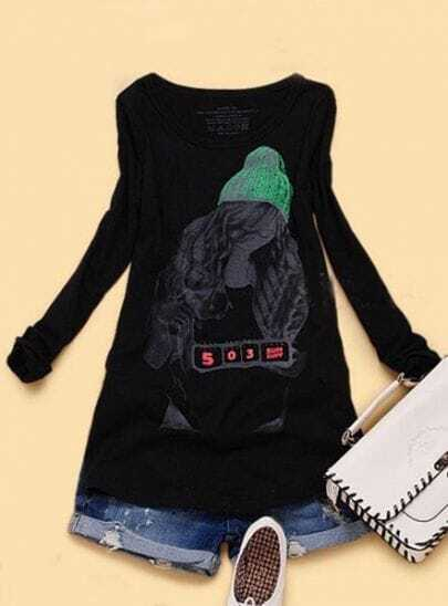 Black 503 SUN DAY Girl Print Long Sleeve T-Shirt