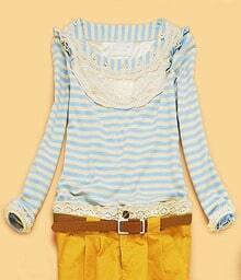 Light Blue Striped Lace Embroidery Trim Long Sleeve T-Shirt