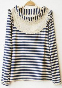 Dark Blue Striped Lace Embroidery Trim Long Sleeve T-Shirt