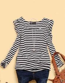 Black White Striped Puff Long Sleeve Cotton T-Shirt