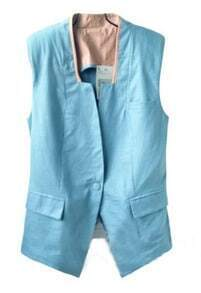 Light Blue High Neck Single Button Pockets Vest
