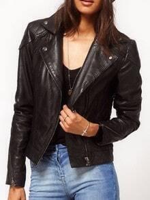 Black Lapel Zipper Cuffs Diamondback Embellished PU Leather Moto Jackets