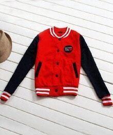 Red Contrast Navy Long Sleeve Pockets Baseball Jacket