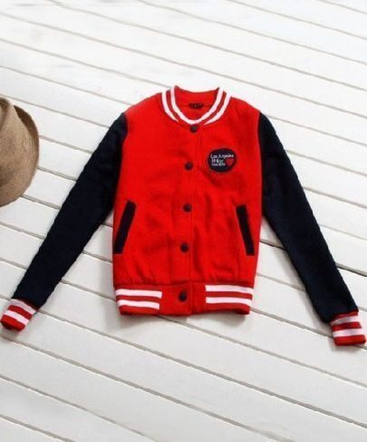 Red Contrast Navy Long Sleeve Pockets Baseball Jacket