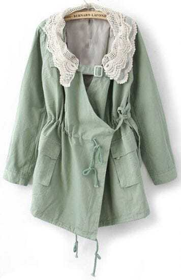 Green Long Sleeve Lace Neckline Drawstring Pockets Trench Coat