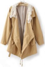 Yellow Long Sleeve Lace Neckline Drawstring Pockets Trench Coat