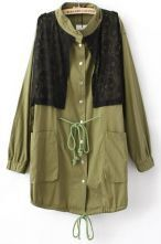 Army Green Band Collar Long Sleeve Drawstring Lace Front Coat