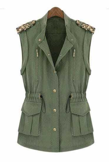 Green Band Collar Tabs Shoulder Drawstring Pockets Vest