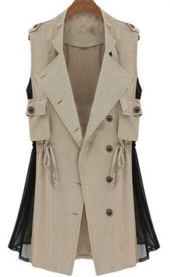 Apricot Double Lapel Drawstring Contrast Chiffon Side Vest