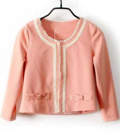Pink Long Sleeve Lace Trims Bow Embellished Crop Blazer
