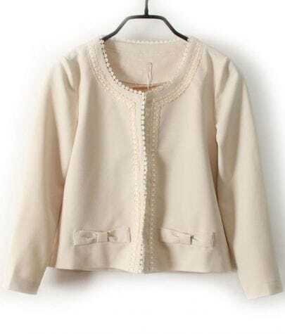 Beige  Long Sleeve Lace Trims Bow Embellished Crop Blazer