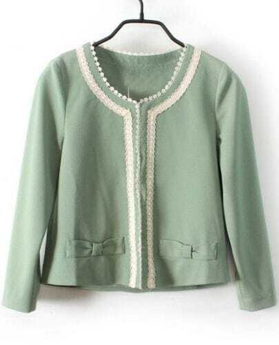 Light Green Long Sleeve Lace Trims Bow Embellished Crop Blazer
