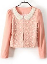 Pink Pearls Lace Embellished Peter Pan Collar Blazer