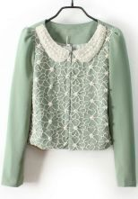 Light Green Pearls Lace Embellished Peter Pan Collar Blazer