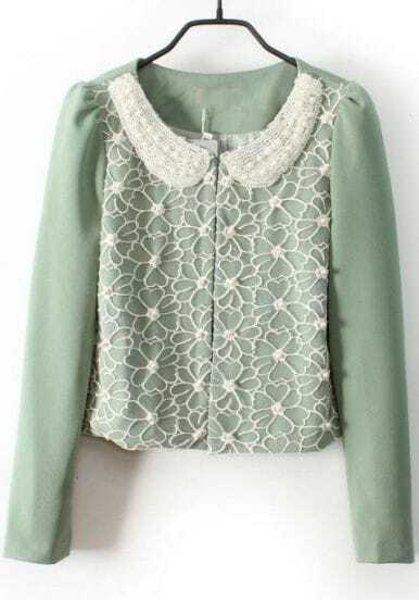 Light Green Pearls Lace Embellished Peter Pan Collar Blazer