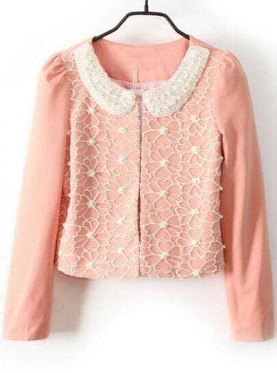 Pink Pearls Lace Embellished Peter Pan Collar Blazer