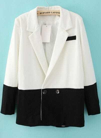 White Contrast Black Hem Two Buttons Long Sleeve Blazer