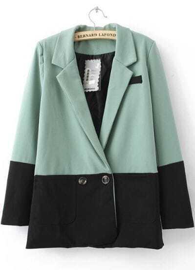 Green Contrast Black Hem Two Buttons Long Sleeve Blazer