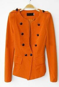 Orange Long Sleeve Pads Shoulder Double Breasted Slim Blazer