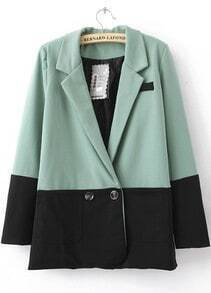 Green Contrast Black Hem Two Buttons Long Sleeve Blazer