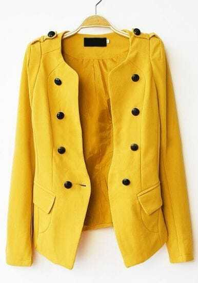 Yellow Long Sleeve Pads Shoulder Double Breasted Slim Blazer