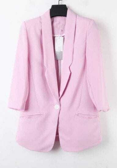 Purple Lapel Single Button Pockets Fitted Curved Hem Blazer